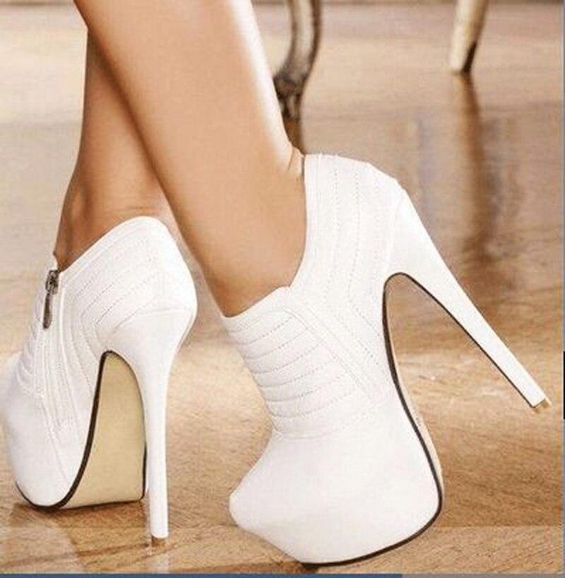 Telas de cuero de línea blanca Post Free, cremalleras, impermeables 4,5 cm, zapatos de tacón alto de 16 cm, zapatos de cuatro estaciones. Tamaño: 35 43