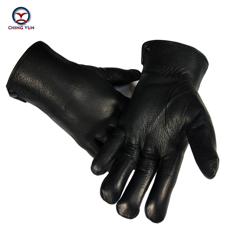CHINGYUN 2020 New Hot Sale High Quality Leather Real Wool Men's Black Gloves Winter Super Warm Soft Fashion Wool Gloves