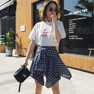 Image 5 - Женская винтажная клетчатая юбка, асимметричная юбка в стиле бохо с высокой талией, поясом и бантом, весна лето 202