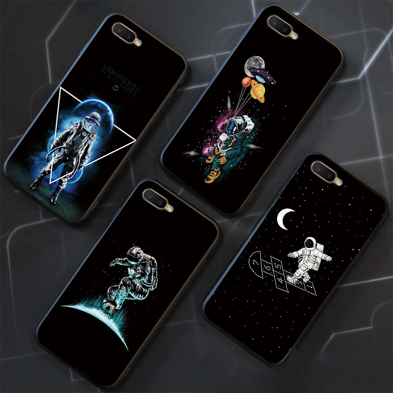Space Astronaut <font><b>Cases</b></font> For <font><b>OPPO</b></font> A7 A5 A3S <font><b>AX7</b></font> Skateboard Black TPU Cover For <font><b>OPPO</b></font> R17 RX17 Neo <font><b>Phone</b></font> Shell For <font><b>OPPO</b></font> K1 Bumper image