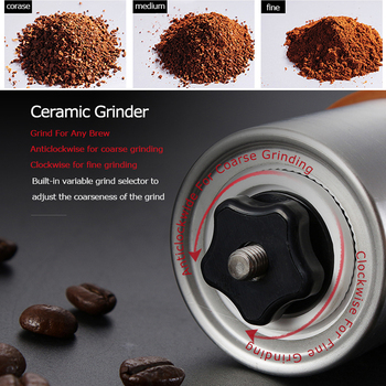 Alocs CW-K17 Travel Manual Coffee Grinder Maker Conical Burr Mill With Adjustable Setting Portable Hand Crank Coffee Grinder 5