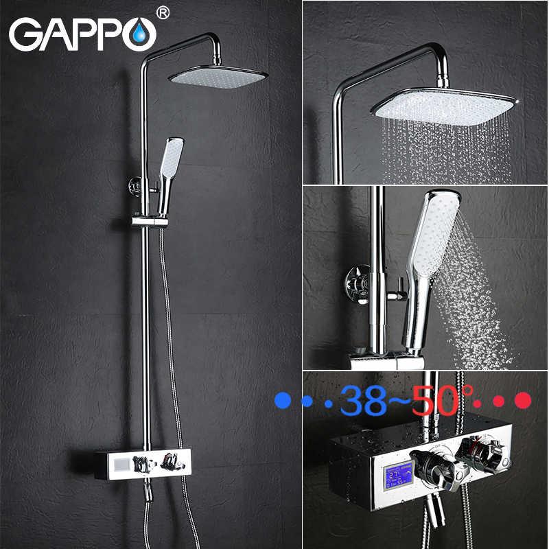 GAPPO 壁マウント真鍮のシャワー浴室のシャワーの蛇口ミキサータップ降雨蛇口セットビッグシャワーヘッドシャワーシステム GLD1122