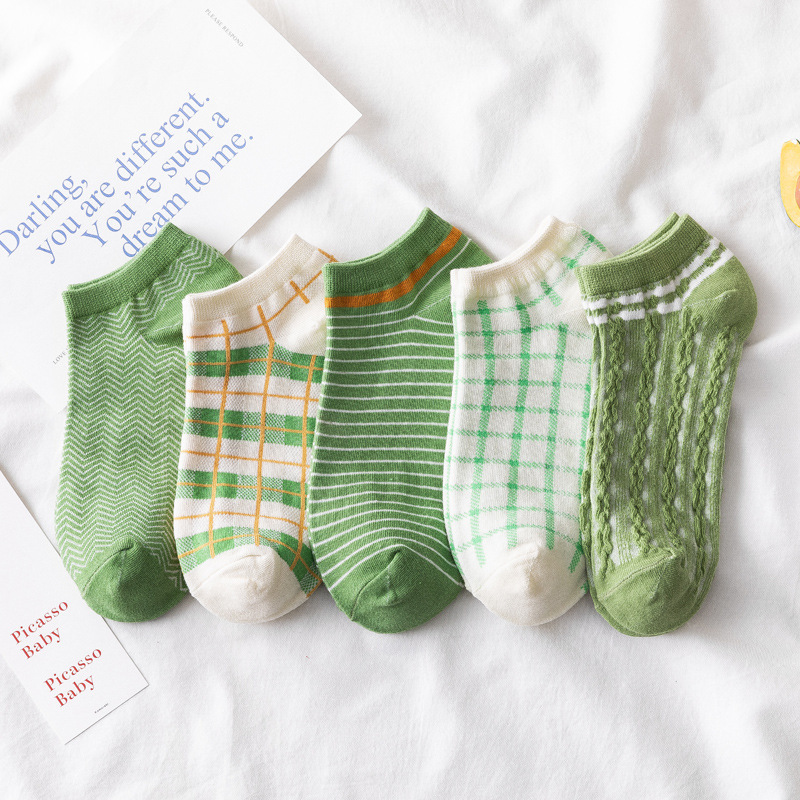 Socks New Comfortable Cotton Socks Japanese Matcha Green Boat Socks Houndstooth Fresh And Fashionable Korean Couple Sock