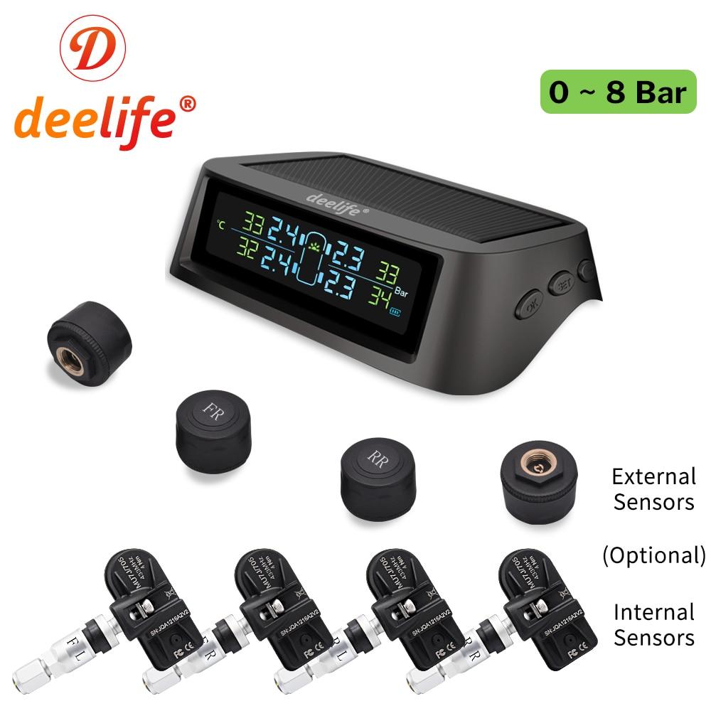Deelife TPMS Solar Tire Pressure Monitoring System 0-116 Psi 0-8 Bar TMPS Car Tyre Pressure Monitor Internal External Sensor