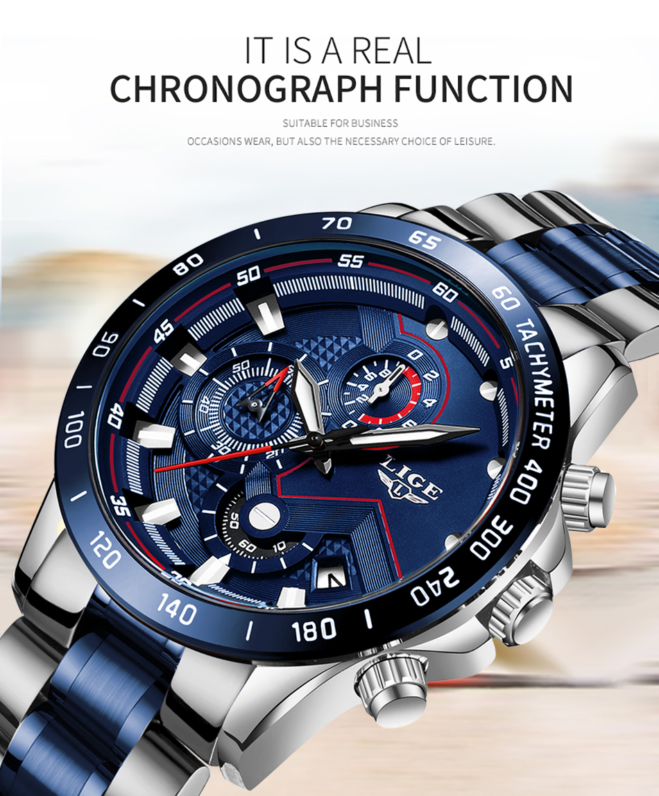 Hcdc76fd0565a4bb1853ae6473e1e4067g Relogio Masculino LIGE Hot Fashion Mens Watches Top Brand Luxury Wrist Watch Quartz Clock Blue Watch Men Waterproof Chronograph