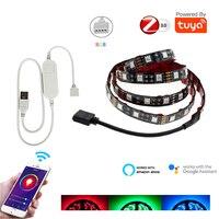 TUYA Zigbee USB LED Streifen DC5V 1M 2M 3M 4M 5M RGB Flexible Licht Lampe TV Hintergrund Beleuchtung Echo Plus Google Startseite Voice Control