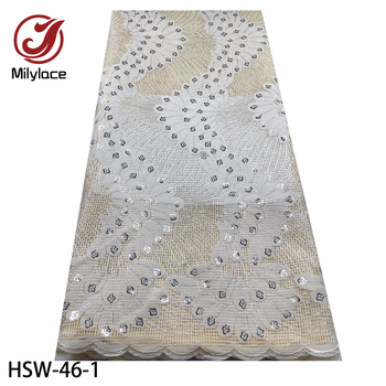 Latest Laser Cut Lace Fabric 2020 African Lace Fabric High Quality Lace Fashion French Sequins Party Lace Fabric HSW-46