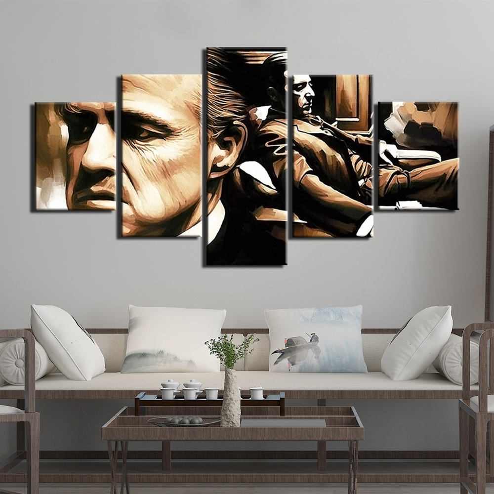 Décoration Salon Moderne Noir Et Blanc parrain affiche photo 5 panneaux toile art impression