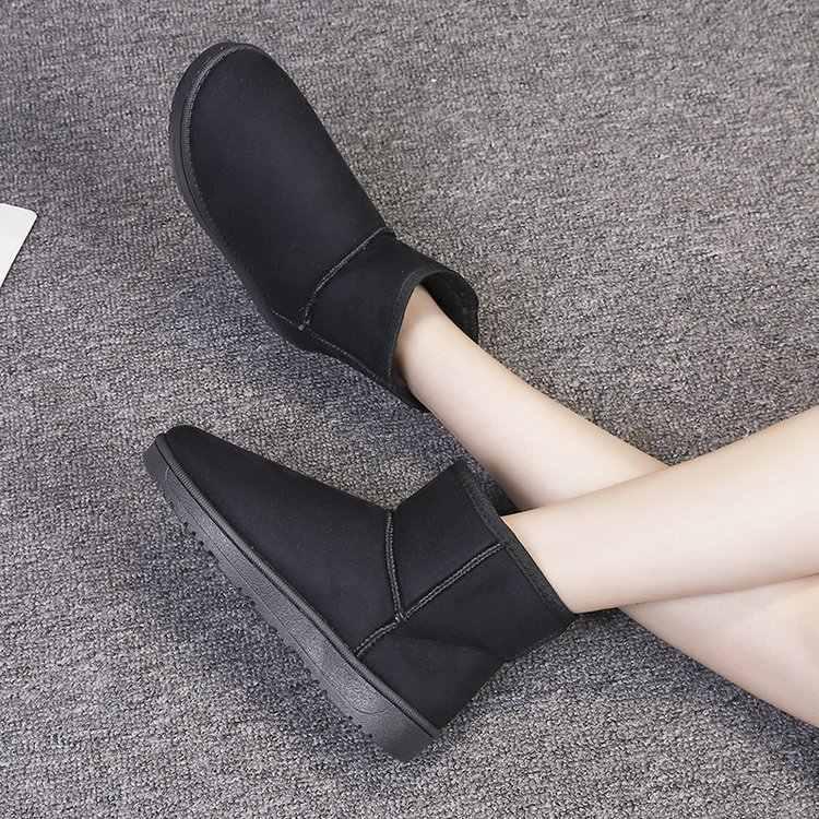 Invierno Caliente mujer botas de nieve espesantes pan corto contenedor antideslizante estera de algodón acolchado zapatos de botas del tobillo de la plataforma