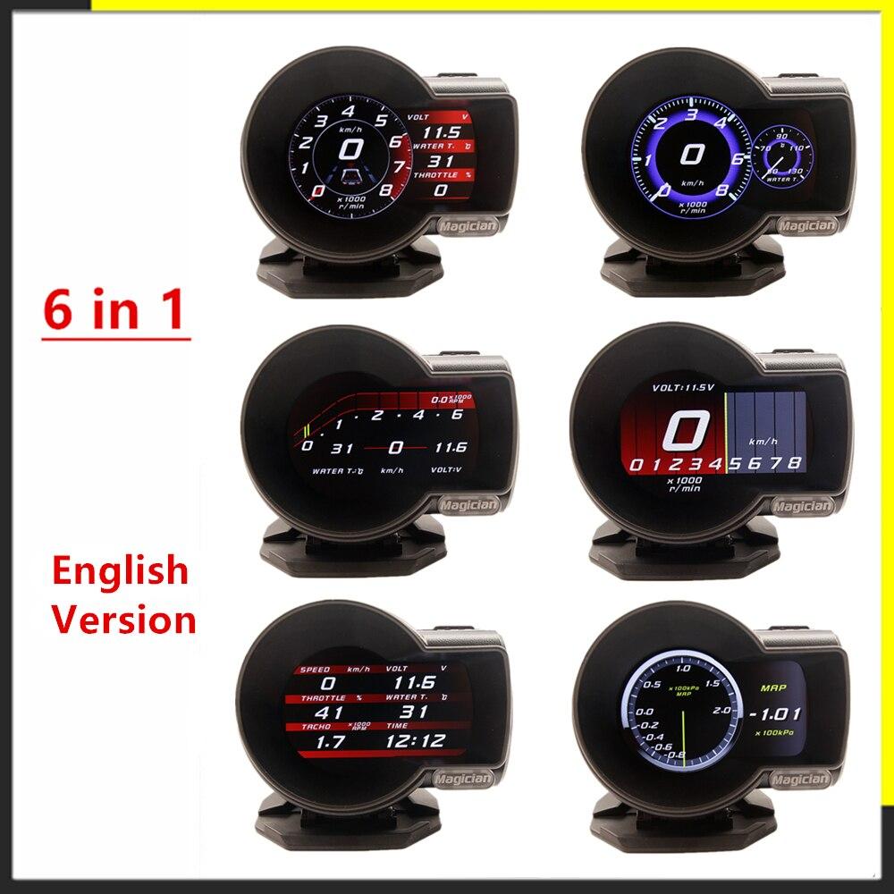 Автомобильный манометр английская версия F8 F835 OBD2, цифровой усилитель, профессиональный дисплей, скорость напряжения воды, Температурная си...