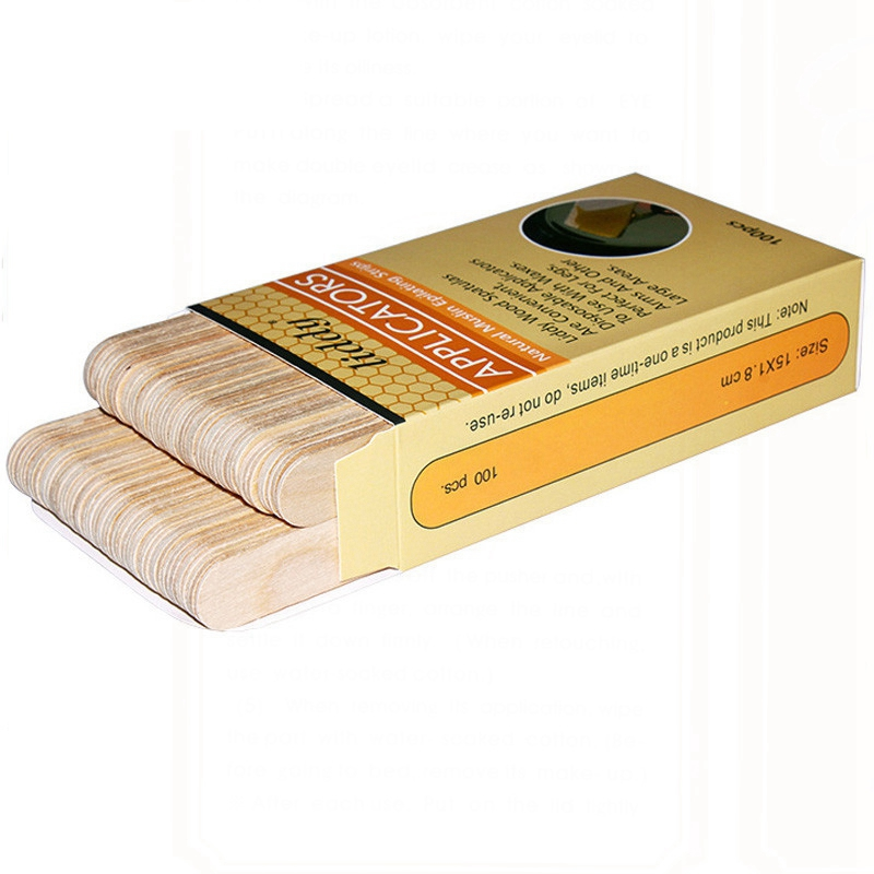 Liddy 100Pcs Depilatory Wood Waxing Stick Disposable Wax Scraping Tongue Stick Waxing Medical Stick