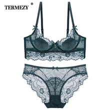 TERMEZY New Lace Lingerie Women Sexy Bra Set Push up Bras Underwear Set Plus size Lingerie Set Breathable Bras and Panties Set