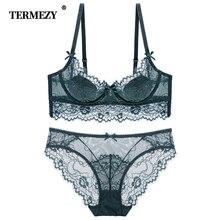 Termezy 새로운 레이스 란제리 여성 섹시한 브래지어 세트 브래지어 속옷 세트 플러스 사이즈 란제리 세트 통기성 브래지어와 팬티 세트