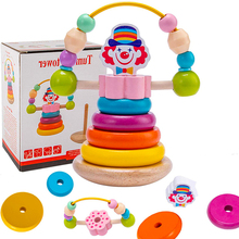 Puzzle Blocks Toys Gift Wooden Rainbow Early-Education Children Spin-Clown Pagoda 1set