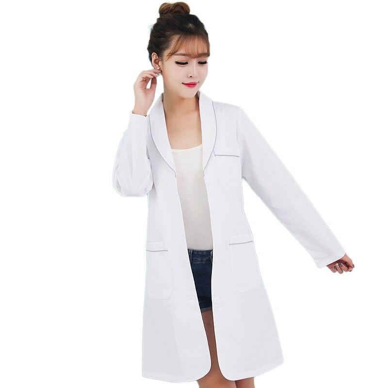 Ladies Medical Robe Medical Lab Coat Hospital Doctor Slim White Nurse Uniform Medical Gown Overalls