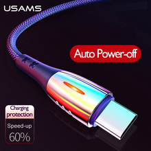 USAMS Type-C Cable Smart Power Off Auto Cut-offFast Charging Nylon USB C QC3.0 Data Cord for Xiaomi Samsung HUAWEI