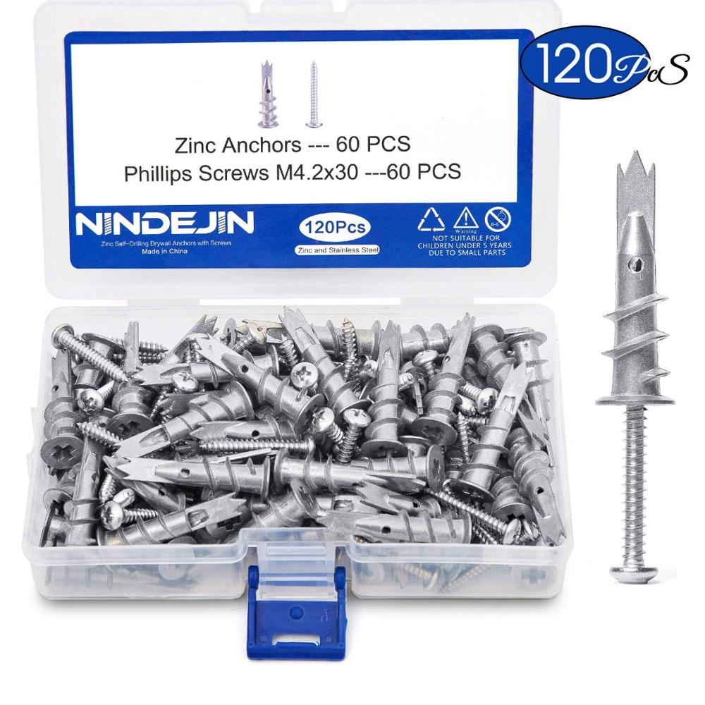 NINDEJIN 120pcs/set Screws Zinc Alloy Self Drilling Board Drywall Hollow wall Anchors M4.2 Tapping Screw Kit With Storage BoxScrews   -