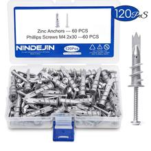 NINDEJIN 120pcs/set Screws Zinc Alloy Self Drilling Board Drywall Hollow-wall Anchors M4.2 Tapping Screw Kit With Storage Box