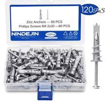 Nrenjin 120 pçs/set parafusos, placa de perfuração automática de liga de zinco, âncora da parede oca m4.2, kit de parafusos de rolagem com armazenamento caixa de caixa