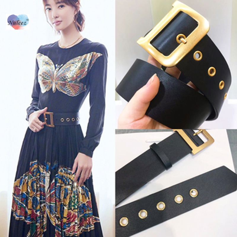 Nuleez D Belt Women Golden Copper Solid Waist Decoration For Dress And Suit Wide And Slim Size For Choose