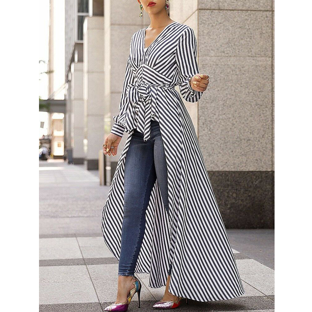 2019 Casual Lady Deep V neck Collar Bandage Lace Up Long Shirt Dress Long Hem Women Autumn Long Sleeve Stripe Maxi Dresses