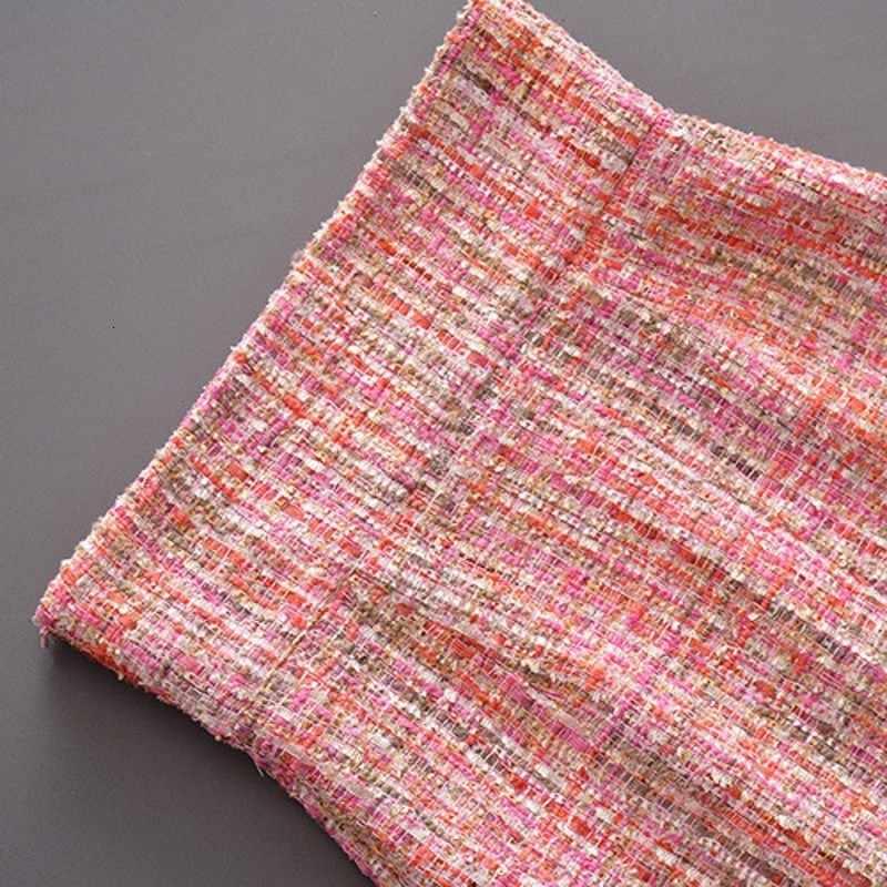 Năm 2020 Văn Phòng Mới Nữ Tweed Áo Khoác Tua Rua Quấn Váy Hai Bộ Nữ Đường Băng Spliced Hai Dây Ngắn Áo Khoác Váy Trang Phục phù Hợp Với