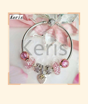 High Quality Reproduction 1:1 100% Silver Colored Glaze Love Pendant DIY Bracelet Free Of Charge