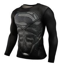 Z długim rękawem sportowa koszula mężczyzn Superhero Punisher 3D kompresji T Shirt szybkie suche męskie T-shirt do biegania siłownia Top rashgard