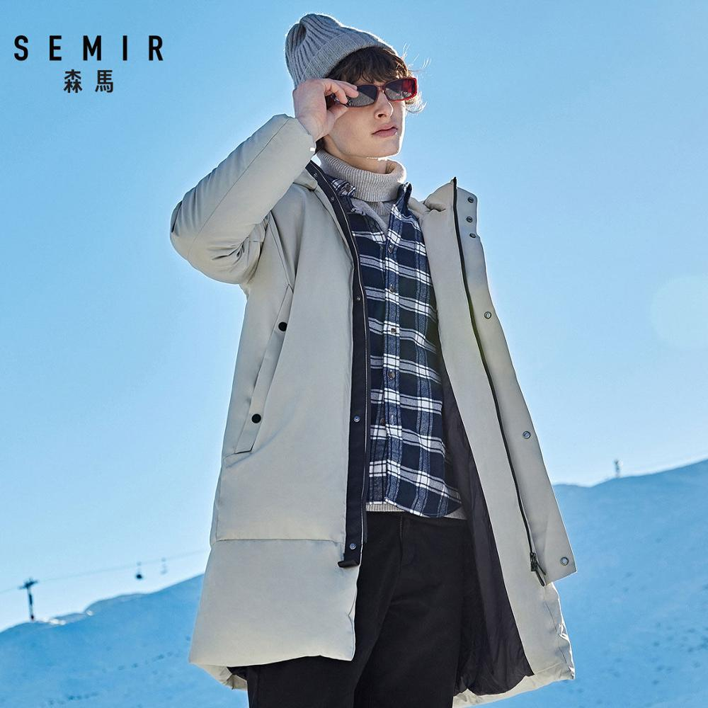 Semir Long Thicken Down Jacket 80% Duck 2019 Young Winter Windbreak Men New Hooded Warm Winter Jacket Normal Comfort Coat