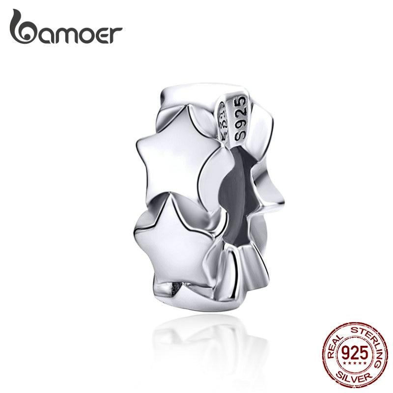 BAMOER Stopper Charms mit Silikon Sterling Silber Sterne Perlen für Frauen Schmuck Machen Charme Armband für Mädchen SCC1169