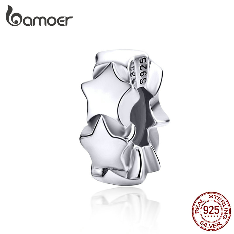 BAMOER Stoppers Charms With Silicone Sterling Silver Stars Beads For Women Jewelry Making Charm Bracelet For Girl SCC1169