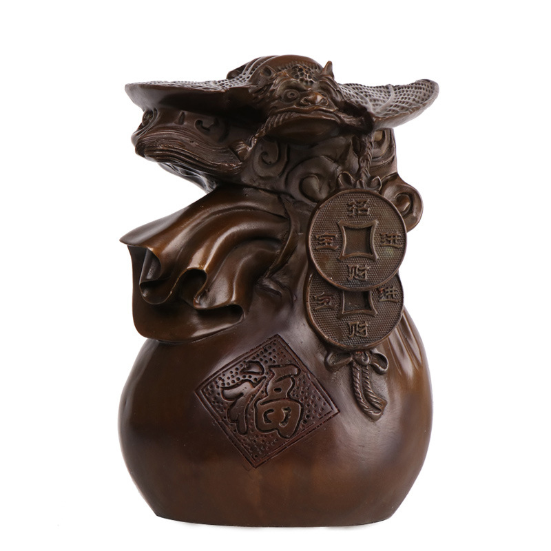 LAOJUNLU Pure Copper Bat Ornaments Lucky Fortune Word Bag Full Of Wealth Home Decoration Housewarming Gifts