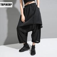 New Large Size Faux Two Pieces Mid Waist Harem Pants plus size stripe print Leisure Women's Trousers