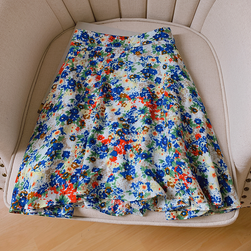 Sweet Women Floral Mini Skirt 2020 Summer Womens Loose Soft Satin Skirts Fashion Retro Elastic Waist A-line Skirt Faldas Mujer image