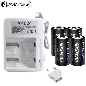 PALO 4pcs D type rechargeable battery D size 1.2V 8000mAh ni mh  NI-MH nimh + charger for AA AAA  C D  batteries US EU plug 4pcs palo 4000mah 1 2v c size ni mh nimh rechargeable battery with low self discharge for household flashlight water heater toy