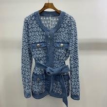 Chic womens belt denim jackets 2019 autumn hollow-out coat B026