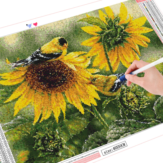 HUACAN 5D DIY Diamond Painting Bird Full Square Round Drill Sunflower Diamond Embroidery Animal Home Decor