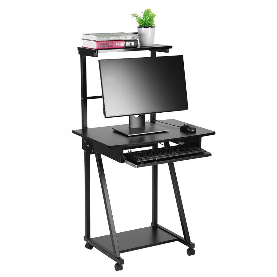 - Home Office Laptop Desk Double Layers Household Computer Desk