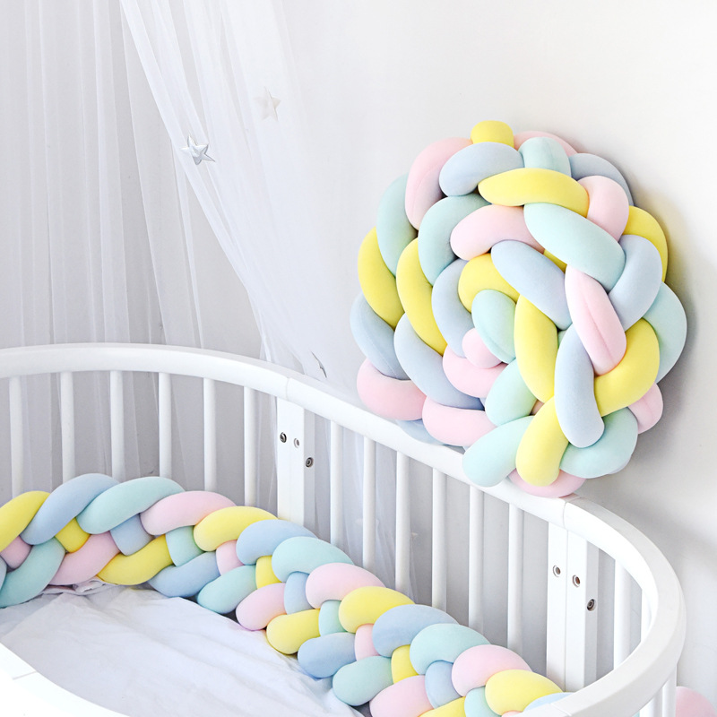 300cm Baby Newborn Crib Protector Pad Cot Bumpers Bed Bumper Baby Knot Design Weaving Rope Infant Room Decor Bedding Accessorie