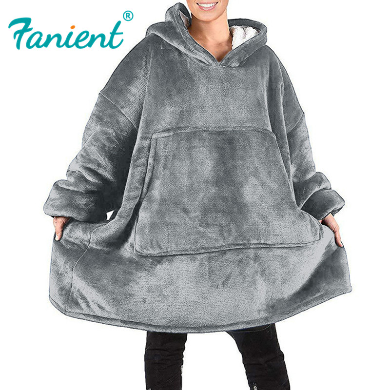 Winter Women Warm Oversized Fleece Blanket Hoodies Sweatshirt Hooded Pocket Blanket With Sleeves Sherpa Pullovers Sudadera Mujer