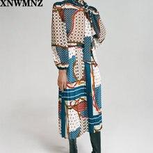 Женская винтажная блузка xnwmnz za с принтом и бантом Повседневная