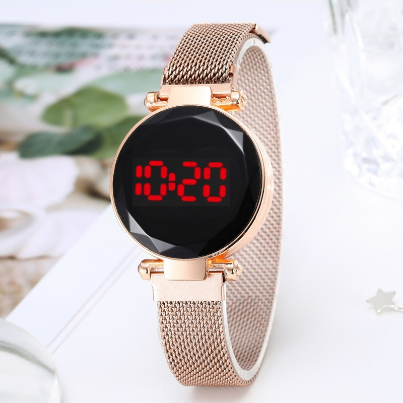 Quartz Watch Clock Hour LED Touch Belt Watch Women Ladies Fashion Casual Wild Watch Quartz Movement Watches Milanese Wristwatch