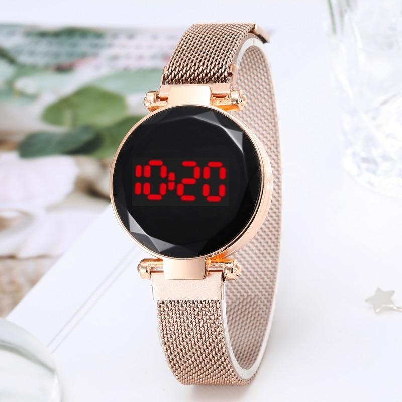 Quartz Watch Clock Hour LED Touch Belt Watch Women Ladies Fashion Casual Wild Watch Quartz Movement Watches Milanese Wristwatch