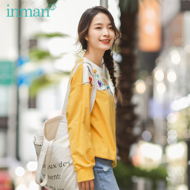INMAN 2020 Spring New Arrival Literary Round Collar Contrast Color Embroidered Pattern Dropped Shoulder Sleeve Sweatshirt