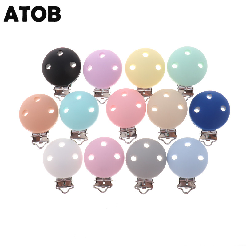 ATOB 10PCS Pacifier Clip Silicone Round Teether Clips  DIY Baby Pacifier Dummy Chain Holder Soothing Pacifier Accessories