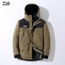 Daiwa Рыбацкая куртка зимняя Лоскутная термальная одежда для рыбалки с капюшоном на молнии утолщенный мужской уличный походный зимний рыболовный костюм