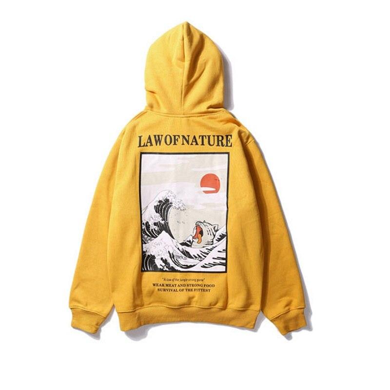 Japanese Embroidery Funny Cat Wave Printed Fleece Hoodies  Japan Style Hip Hop Casual Sweatshirts Streetwear