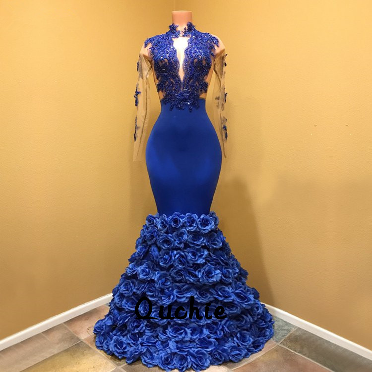 Royal Blue Flowers Evening Dresses Long Sleeve Special Occasion robe soiree Islamic Dubai Kaftan Saudi Arabic Prom Gown