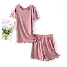 Fdfklak новых женщин модальные груди пижамы наборы топ+брюки XL на 2XL 4XL плюс размер короткий рукав пижамы цельный короткий нижнее белье