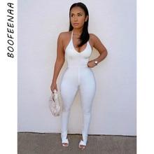 BOOFEENAA Sexy sin espalda Halter vestido monos Club blanco de una sola pieza ropa de Fitness Mono para hacer gimnasia 2021 de las mujeres de la moda C70-BD20